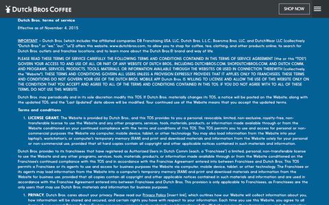 Screenshot of Terms Page dutchbros.com - Dutch Bros | Dutch Bros. Terms of Service - captured Oct. 24, 2017