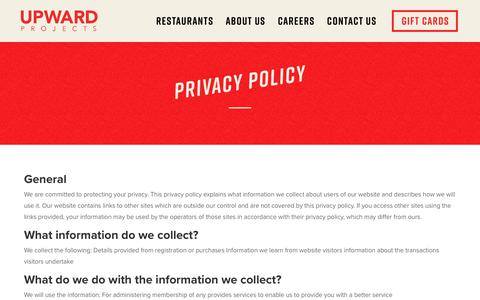 Screenshot of Privacy Page upwardprojects.com - Privacy Policy | Upward Projects - captured Sept. 21, 2018