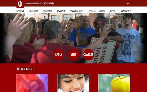 Screenshot of Home Page ius.edu - IU Southeast : Indiana University Southeast - captured Oct. 22, 2015