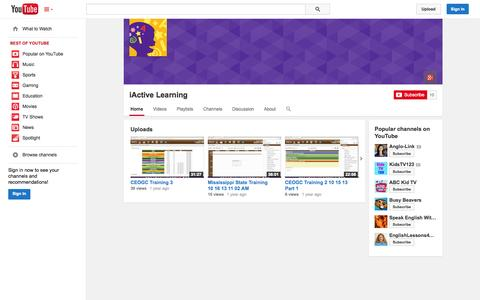 Screenshot of YouTube Page youtube.com - iActive Learning  - YouTube - captured Oct. 23, 2014