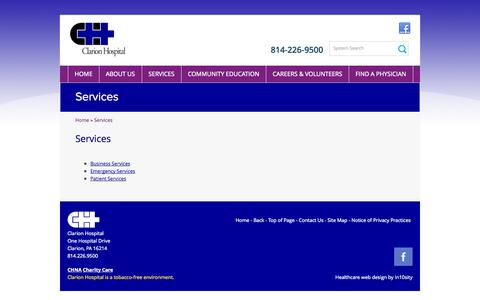 Screenshot of Services Page clarionhospital.org - Services | Clarion Hospital - captured Sept. 30, 2014
