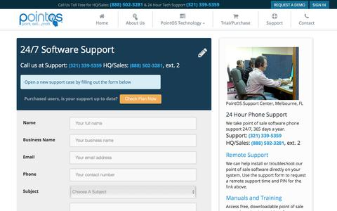 Screenshot of Support Page pointos.com - 24 Hour Point of Sale Support Center | PointOS - captured Aug. 11, 2017