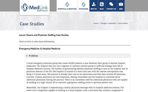 Screenshot of Case Studies Page medlinkstaffing.com - MedLink | Locum Tenens Case Studies, Physician Staffing Case Studies - captured Nov. 28, 2016