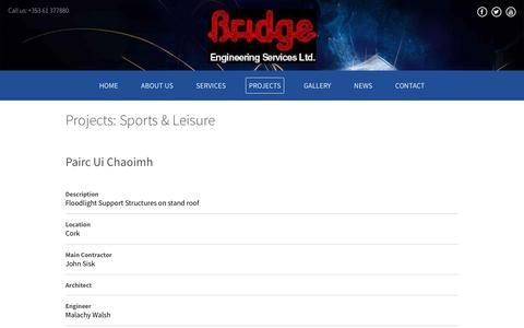 Screenshot of Menu Page bridgeeng.ie - Sports & Leisure - captured Oct. 11, 2017