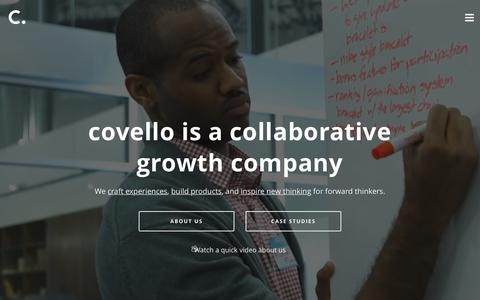 Screenshot of Home Page covello.co - covello: a collaborative growth company - captured July 19, 2016