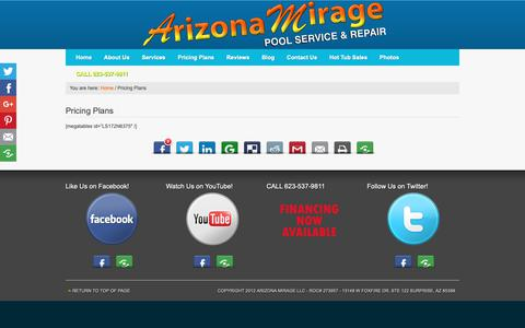 Screenshot of Pricing Page arizonamirage.com - Pricing Plans - Arizona Mirage Pool Service & Repair - captured Oct. 4, 2018