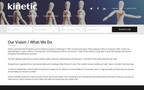 Screenshot of About Page kinetic.co.nz - Range of services for our clients and candidates I Kinetic  |  Kinetic Recruitment - captured Oct. 17, 2017