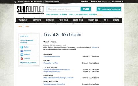 Screenshot of Jobs Page surfoutlet.com - Jobs at SurfOutlet.com – Find Open Positions and Job Opportunities - captured Sept. 19, 2014