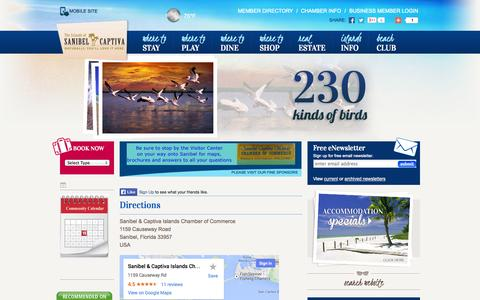 Screenshot of Maps & Directions Page sanibel-captiva.org - Location & Directions - Sanibel Captiva Chamber of Commerce - captured Sept. 19, 2014