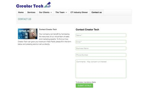 Screenshot of Contact Page creatortech.com - Contact Creator Tech for business development and marketing services - captured July 17, 2016