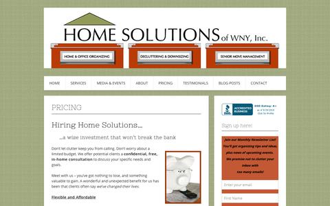 Screenshot of Pricing Page homesolutionswny.com - Pricing – Home Solutions of WNY, Inc. - captured Sept. 29, 2018