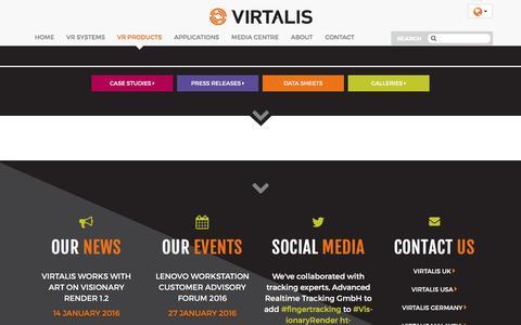 Screenshot of Products Page virtalis.com - Products | VIRTALIS - make virtual a reality - captured Jan. 14, 2016