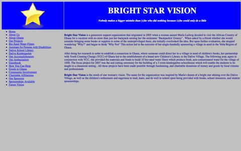 Screenshot of About Page brightstarvision.org - Bright Star Vision: About Us - captured Oct. 5, 2014