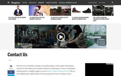 Screenshot of Contact Page esquire.com - Contact Us - captured Dec. 7, 2015