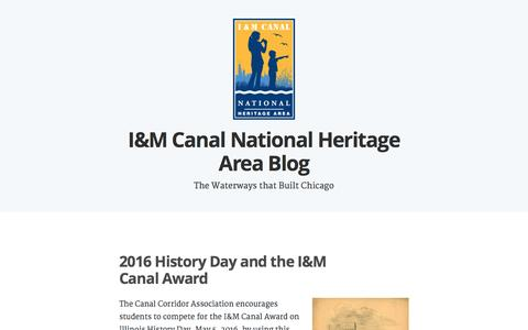 Screenshot of Blog wordpress.com - I&M Canal National Heritage Area Blog – The Waterways that Built Chicago - captured May 23, 2016