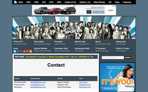 Screenshot of Contact Page spoilertv.com - Contact           | Spoilers - captured Sept. 18, 2014