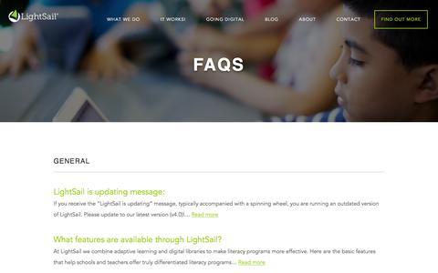 Screenshot of FAQ Page lightsailed.com - FAQs Archive - LightSail - captured Nov. 8, 2016