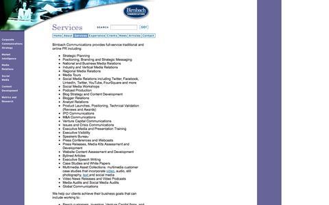 Screenshot of Services Page birnbachcom.com - Birnbach Communications - Services - captured Oct. 5, 2014