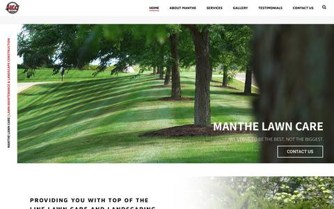 Screenshot of Home Page manthelawncare.com - Madison Lawn Care Maintenance | Residential, Commercial - Manthe Lawn Care - captured Nov. 6, 2018