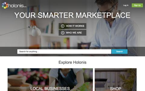 Screenshot of Home Page holonis.com - Holonis | The Smarter Marketplace | Built for Commerce on The Web - captured June 16, 2015