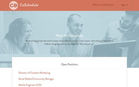 Screenshot of Jobs Page coschedule.com - Jobs - captured Sept. 13, 2014