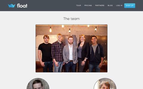 Screenshot of Team Page floatapp.com - Meet the Team | Float Cash Flow Forecasting - captured Oct. 30, 2014
