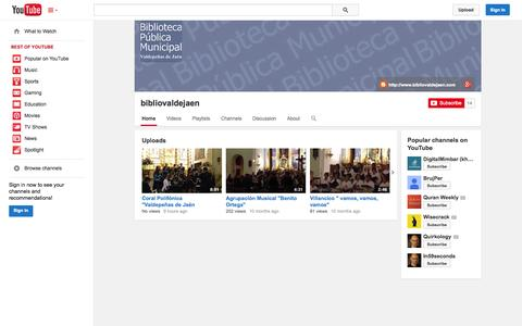 Screenshot of YouTube Page youtube.com - bibliovaldejaen  - YouTube - captured Oct. 29, 2014