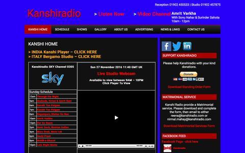 Screenshot of Home Page kanshiradio.com - Kanshi Radio Streaming Live - captured Nov. 27, 2016