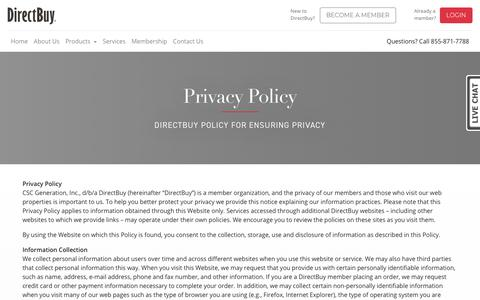 Screenshot of Privacy Page directbuy.com - Privacy Policy - captured Jan. 11, 2018