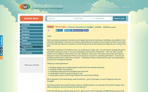 Screenshot of Developers Page workinstartups.com - Developer at Storm Inventories / Work In Startups - captured Jan. 23, 2018