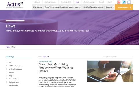 Screenshot of Press Page actus.co.uk - News - Actus: Award winning performance management software. - captured Nov. 20, 2016
