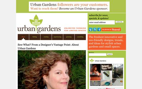 Screenshot of About Page urbangardensweb.com - Sow What? From a Designer's Vantage Point: About Urban Gardens - Urban Gardens - captured Jan. 11, 2019