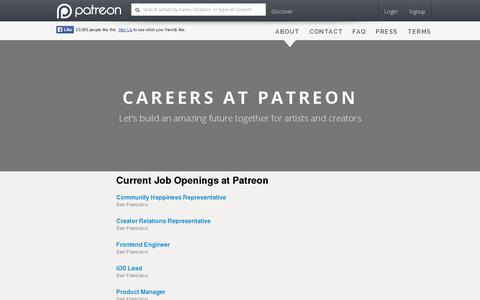 Screenshot of Jobs Page patreon.com - Patreon: Careers - captured July 18, 2014