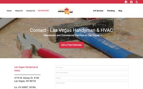 Screenshot of Contact Page handymanoflasvegas.com - Contact  Las Vegas Handyman | Handyman of Las Vegas - HVAC - captured Sept. 27, 2018