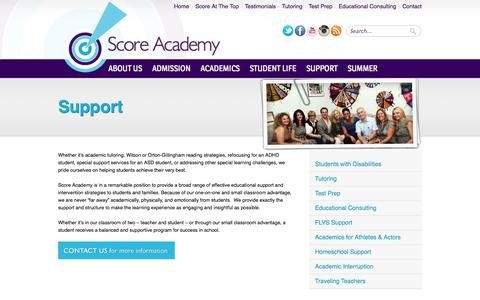 Screenshot of Support Page scoreatthetop.com - Special Support Services - Score Academy - captured Nov. 2, 2014