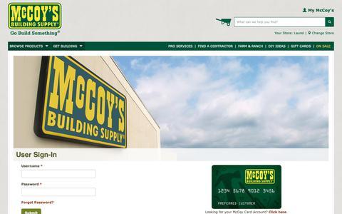 Screenshot of Login Page mccoys.com - My McCoy's Login - captured Dec. 20, 2018