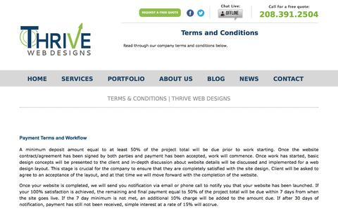 Terms and Conditions | Boise Web Design | Customer Service Promise | Thrive Web Designs