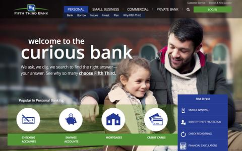 Screenshot of Home Page 53.com - Personal Banking Services | Fifth Third Bank - captured Nov. 9, 2015