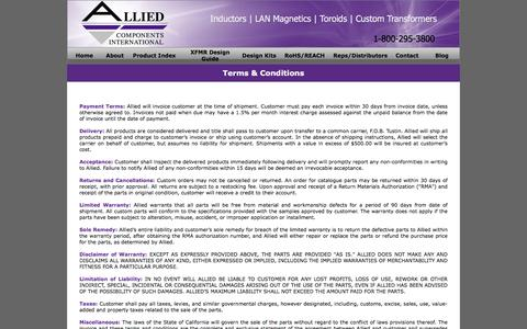 Screenshot of Terms Page alliedcomponents.com - Allied Components - captured Nov. 20, 2016