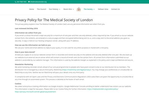 Screenshot of Privacy Page medsoclondon.org - Privacy Policy - The Medical Society of London - captured July 3, 2018