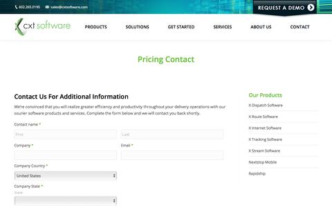 Screenshot of Pricing Page cxtsoftware.com - Pricing Contact | CXT Software - captured April 14, 2018