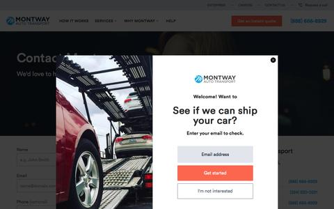 Screenshot of Contact Page montway.com - Contact Us   Montway Auto Transport - captured July 20, 2018