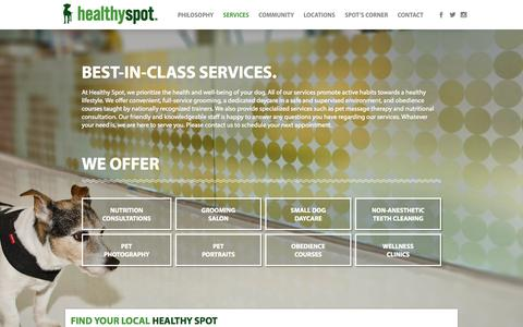 Screenshot of Services Page healthyspot.com - Services - Healthy Spot - Organic Pet Food & Supply - captured July 21, 2015