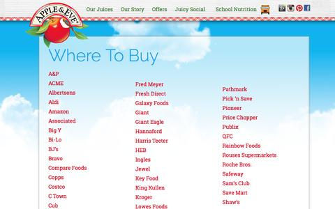 Apple & Eve - Where to Buy - Stores, Vendors, Supermarkets