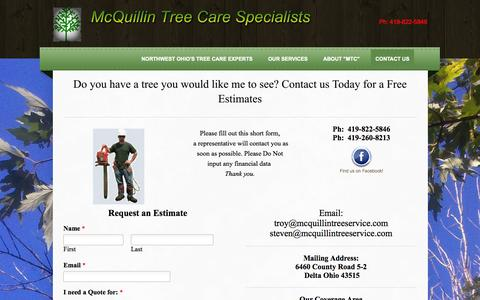 Screenshot of Contact Page mcquillintreeservice.com - Tree Trimming Tree Removal Services McQuillin Tree Care Contact Us - Northwest Ohio's Tree Care Experts - captured Oct. 27, 2014