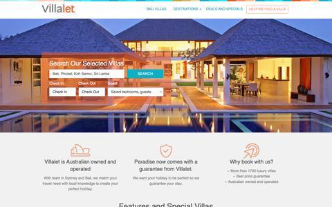 Screenshot of Home Page villalet.com - Bali villas, Seminyak villas, Sri Lanka and Phuket Villas - Villalet Australian owned and managed - captured June 13, 2017