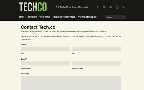 Screenshot of Contact Page tech.co - Contact Tech.co - Tech.Co - captured Sept. 23, 2019