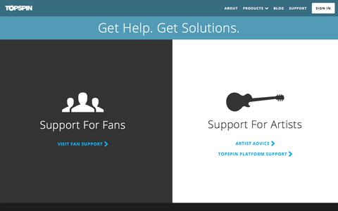 Screenshot of Support Page topspinmedia.com - Topspin Media | Support - captured Oct. 6, 2017