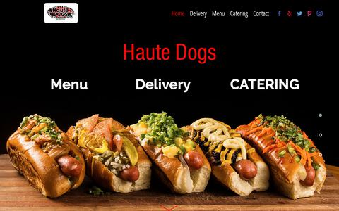 Screenshot of Home Page hautedogsandfries.com - Welcome to Haute Dogs and Fries Restaurant - captured Sept. 27, 2018