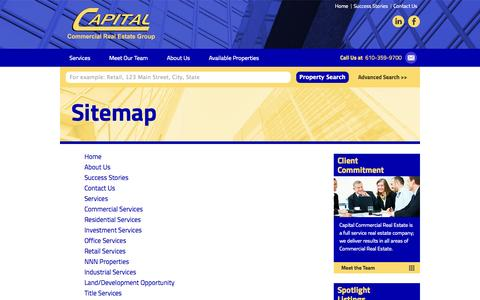 Screenshot of Site Map Page capitalcomre.com - Sitemap | Commercial Services, Investment Services, Office Services, Retail Services, Industrial Services, Land/Development, Title Services, Finance, 1031 Exchange Services, Legal Services, Cost Segregation Services, Property Inspection Services | Ca - captured Oct. 1, 2014